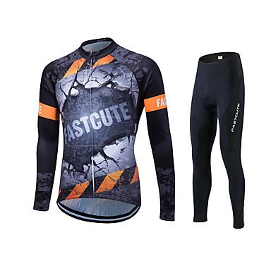 Fastcute Wielrenshirt met strakke wielrenbroek Heren Dames Unisex Lange mouw Fietsen Trainingspak Shirt Fietsen Tights/Lange Broek