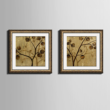 E-HOME® Framed Canvas Art, The Yellow Leaves on The Tree Framed Canvas Print Set Of 2