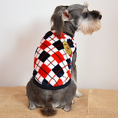 Kat Hund T-shirt Hundetøj Plæd / Tern Grå Gul Rød Flannelstof Kostume For kæledyr Herre Dame Afslappet/Hverdag Mode