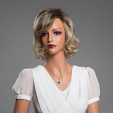 cacheados encantador curta peruca com franja virgem do cabelo humano cor secundária de 14 polegadas
