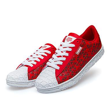 Sneakers-Svinelæder-Komfort-Herre-Sort Blå Gul Rød Grå-Udendørs Fritid-Lav hæl