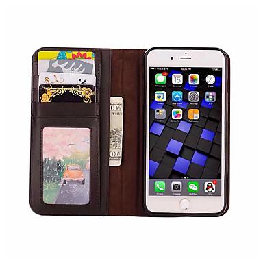 Funda Para iPhone 7 Apple iPhone 7 Plus iPhone 7 Soporte de Coche Cartera con Soporte Flip Funda de Cuerpo Entero Color sólido Suave