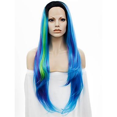 Pruik Lace Front Synthetisch Haar Recht Natuurlijke haarlijn Donkere wortels Blauw Dames Kanten Voorkant Kanten pruik Synthetisch haar