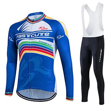 Fastcute Cykeltrøje og tights med seler Herre Dame Unisex Langærmet Cykel Tights Med Seler Træningsdragt Trøje Tights Toppe Tøjsæt