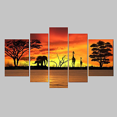100% hand-painted oil Tree Wall Art Canvas African Forest Animals Landscape Oil Painting 5pcs/set No Frame