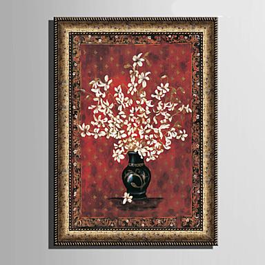 Blumenmuster/Botanisch Gerahmtes Leinenbild / Gerahmtes Set Wall Art,PVC Stoff Goldfarben Kein Passpartout Mit Feld For Haus Dekoration