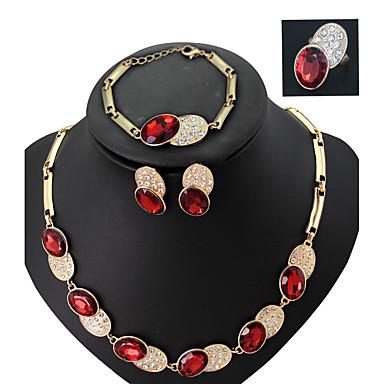 Damen Schmuckset Acryl Strass vergoldet Aleación Modisch Hochzeit Party Haken Ohrringe Halsketten Armband Modeschmuck