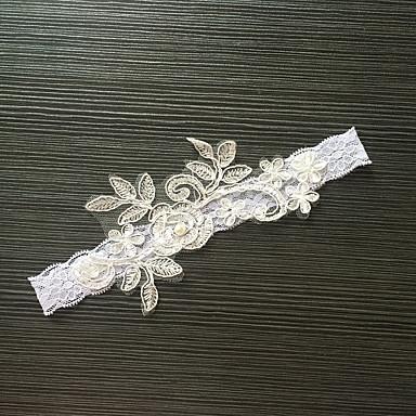 Spitze Stretch - Satin Klassisch Modisch Hochzeitsstrumpfband  -  Imitationsperle Blume Strumpfbänder