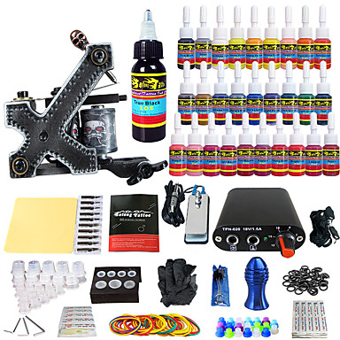 Tattoo Machine Starter Kit 1 alloy machine liner & shader Mini power supply 1 x aluminum grip 20 pcs Tattoo Needles