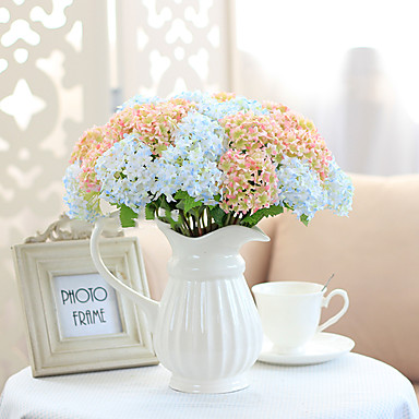 1 Ramo Poliéster Hortênsia Flor de Mesa Flores artificiais
