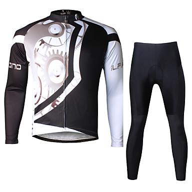 ILPALADINO Herre Langærmet Cykeltrøje og tights - Sort Cykel Tøjsæt, 3D Måtte, Hurtigtørrende, Ultraviolet Resistent, Åndbart, Refleksbånd Lycra Udstyr / Elastisk