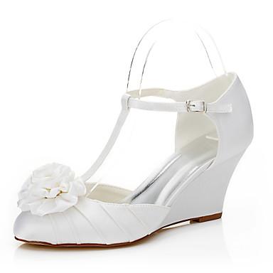 Damen Schuhe Seide Frühling / Sommer Sandalen Keilabsatz Blume Weiß / Hochzeit / Party & Festivität