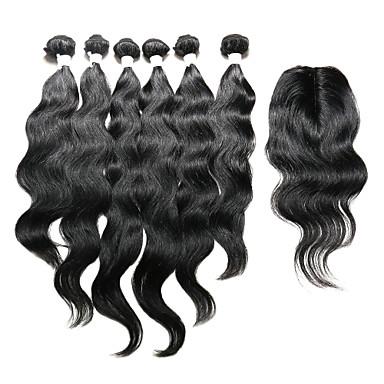 Indisches Haar Natürlich gewellt Haar-Einschlagfaden mit Verschluss Menschliches Haar Webarten Natürlich Schwarz Haarverlängerungen
