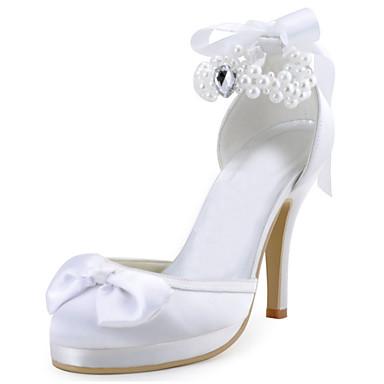 Ivoire Blanc 05263140 Soirée Mariage à Elastique Eté Rouge Satin Chaussures amp; Automne Talons Talon Plateau Chaussures Evénement Aiguille Femme Cristal Printemps Perle 1Bx6aqwWU