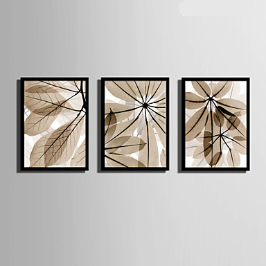 Bloemenmotief/Botanisch Ingelijst canvas / Ingelijste set Wall Art,PVC Materiaal Zwart Zonder passepartout met Frame For Huisdecoratie