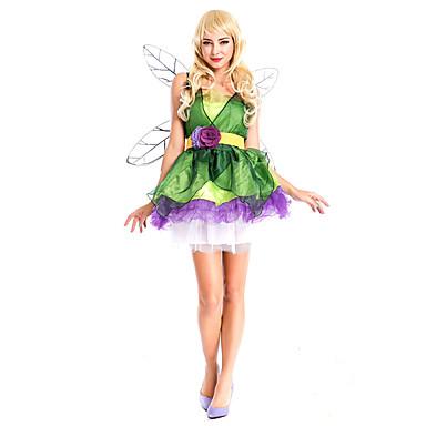 Prinses Sprookje Cosplay Kostuums Feestkostuum Vrouwelijk Halloween Carnaval Festival / Feestdagen Halloweenkostuums Klaver Patchwork