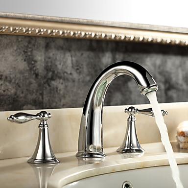 Moderne Udspredt Udbredt Keramik Ventil To Håndtag tre huller Krom, Håndvasken vandhane