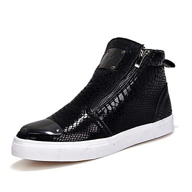 Homens sapatos Couro Ecológico Outono / Inverno Conforto / Botas da Moda Botas Caminhada Preto / Prata / Dourado