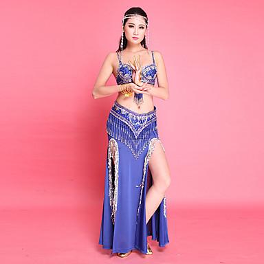 ベリーダンス セット 女性用 性能 ポリエステル タッセル ノースリーブ ローウエスト スカート ブラジャー ベルト ブレスレット