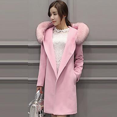 女性 カジュアル/普段着 ソリッド コート,シンプル ピンク ポリエステル 長袖