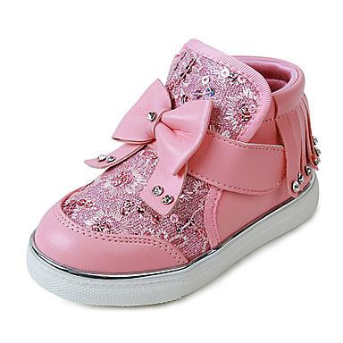 Para Meninas Sapatos Couro Ecológico Outono / Inverno Conforto Botas Caminhada para Branco / Vermelho / Rosa claro