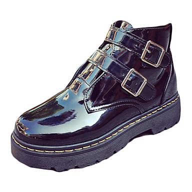Feminino Sapatos Couro Ecológico Outono Inverno Conforto Coturnos Botas Caminhada Salto Baixo Ponta Redonda Cadarço Colchete Para Casual