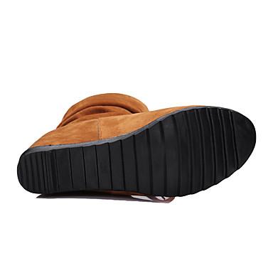 Femme de Volants Automne compensée Chaussures Rivet Mode à Lacet semelle Bottes Bottes rond la 05317989 Hiver Hauteur Marche Similicuir Bout P1rnTwFP