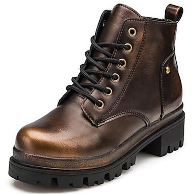 Dames Laarzen Legerlaarzen Modieuze laarzen Lakleer Lente Herfst Winter Causaal Veters Blokhak Blok hiel Gouden 7,5 - 9,5 cm