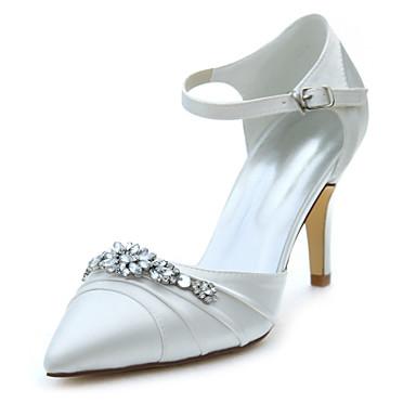 女性用 靴 ストレッチサテン 春 秋 サンダル スティレットヒール ポインテッドトゥ クリスタル のために 結婚式 ドレスシューズ パーティー クリスタル