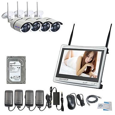 strongshine® 4ch hd rakennettu 3TB HDD langattomassa NVR sarjat 12,5 tuuman näyttö ja 960p vesitiivis IP-kamera