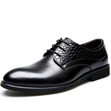 Homens Sapatos formais Pele Primavera / Verão / Outono Conforto Oxfords Preto / Festas & Noite / Sapatos de couro