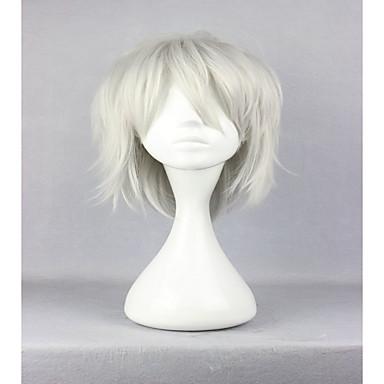 人工毛ウィッグ / コスチュームウィッグ カール 合成 白 かつら 女性用 キャップレス