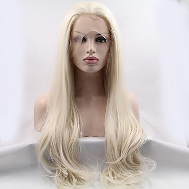 Χαμηλού Κόστους Συνθετικές περούκες με δαντέλα-Συνθετικές μπροστινές περούκες δαντέλας Ίσιο Στυλ Δαντέλα Μπροστά Περούκα Ξανθό Blonde Συνθετικά μαλλιά 18-26 inch Γυναικεία Φυσική γραμμή των μαλλιών Ξανθό Περούκα Μακρύ 180 / Ναι