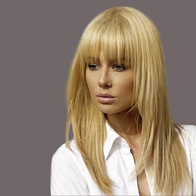 moda elegante recta pelucas de cabello humano para la mujer