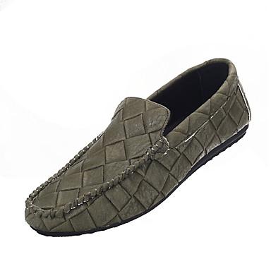 Heren Loafers & Slip-Ons Comfortabel PU Lente Herfst Causaal Comfortabel Platte hak Zwart Grijs Groen Plat