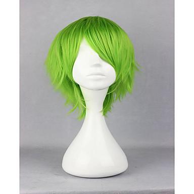 Synthetische Perücken / Perücken Locken Synthetische Haare Grün Perücke Damen Kurz Kappenlos