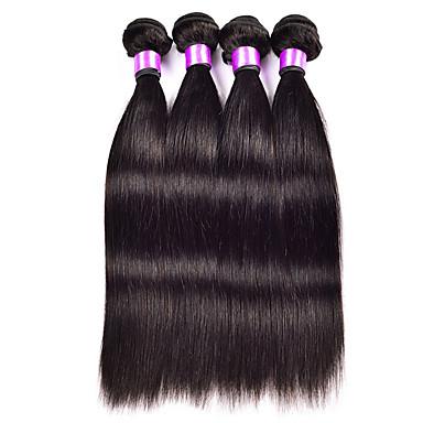 Aidot hiukset Perulainen Hiukset kutoo Suora Hiuspidennykset 3 osainen Musta