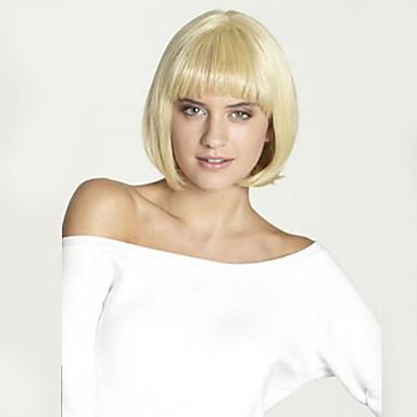 Naisten Synteettiset peruukit Suora Vaaleahiuksisuus Bob-leikkaus Luonnollinen peruukki Halloween Peruukki Carnival Peruukki puku Peruukit