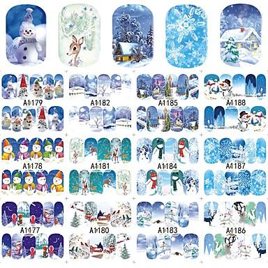 12Designs/set Etiqueta de transferencia de agua / ornamentos de Navidad / Pegatina de uñas Calcomanías de uñas / Navidad Pegatina