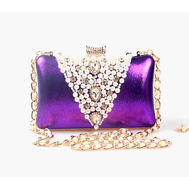 Mujer Bolsos Cuero sintético Bolso de Noche Cuentas / Perla / Perla de Imitación Un Color Plata / Morado / Dorado