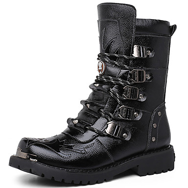Men's Shoes Nappa Leather Winter Fall Combat Boots Fashion Boots Boots Booties/Ankle Boots for Casual Party & Evening Black