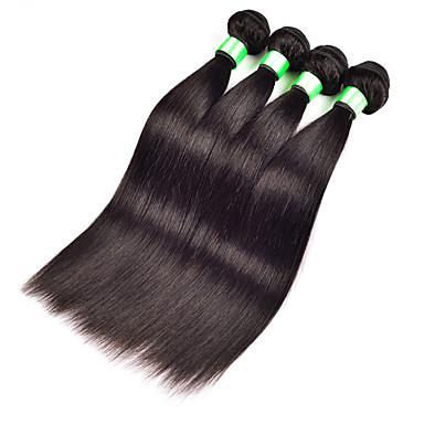 人毛 マレーシアンヘア 人間の髪編む ストレート ヘアエクステンション 3個 ブラック