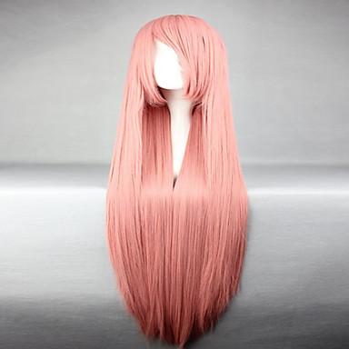 Cabelo Sintético perucas Reto Peruca de carnaval Peruca de Halloween Peruca para Cosplay Muito longo Rosa