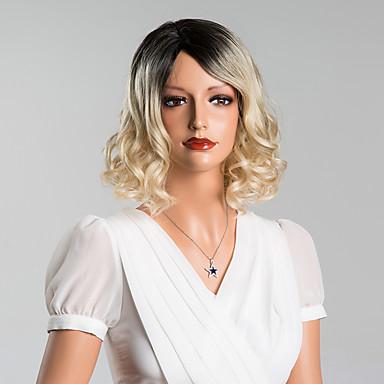 elegant medium golvende capless pruiken van hoge kwaliteit menselijk haar gemengde kleur 14 inches