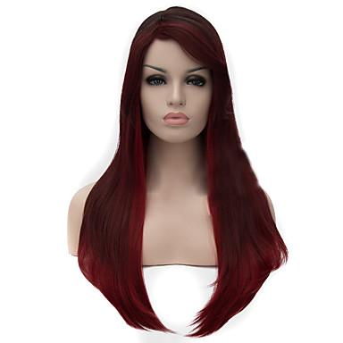 女性 人工毛ウィッグ キャップレス ストレート Black/Red ナチュラルウィッグ ハロウィンウィッグ カーニバルウィッグ コスチュームウィッグ