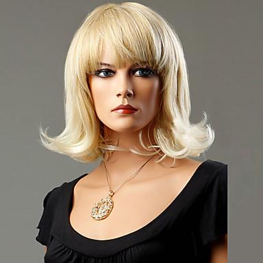 Syntetiske parykker Bølget tetthet Lokkløs Dame Blond Naturlig parykk Medium Syntetisk hår