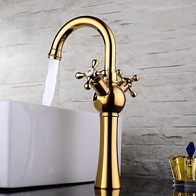 Válvula de cerámica moderna contemporánea de conjuntos centrales, dos asas, un orificio de ti-pvd, grifos para el baño del grifo del lavabo del baño