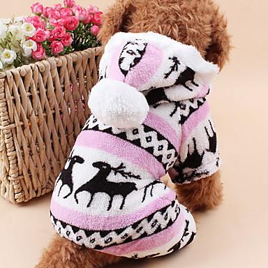 고양이 강아지 후드 점프 수트 파자마 강아지 의류 귀여운 따뜻함 유지 크리스마스 순록 그레이 브라운 블루 핑크 코스츔 애완 동물