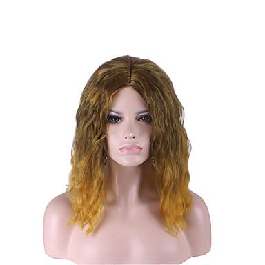 女性 人工毛ウィッグ ストレート ゴールデンブラウン オンブレヘア ナチュラルウィッグ ハロウィンウィッグ カーニバルウィッグ コスチュームウィッグ