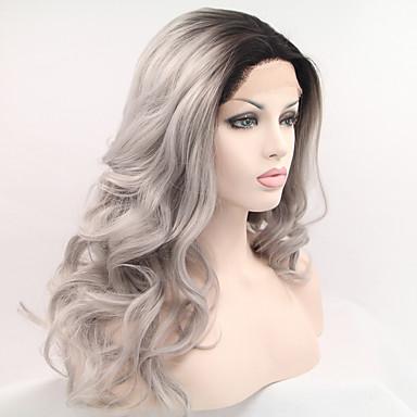 Peluca Lace Front Sintéticas Ondulado Natural Pelo sintético Pelo Ombre Negro Peluca Mujer Larga Encaje Frontal